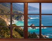 Wall mural window, self adhesive, Big Sur window view- 3 sizes available - free US shipping