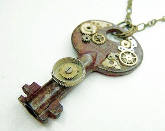 Post Apocalyptic Mechanical Key Necklace
