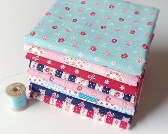 CLEARANCE, ROMANTIC MEMORIES, Japanese Fabric by Cosmo Textiles, 1/2 Yard Bundle of 8