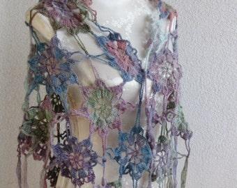 Women colorful Scarf, Triangle Shawl, Neckwarmer, Scarf, Crochet Shawl,  in Petrol, Turquois, purple Chamoisee, Taupe, Summer