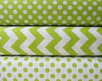 Lime Green Small Chevrons and Dots Half Yard Fabric Bundle - Total 1 1/2 Yards - By Riley Blake Designs