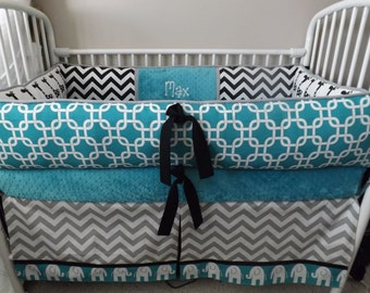 Elephant Teal Gray Black  Baby bedding Crib set DEPOSIT