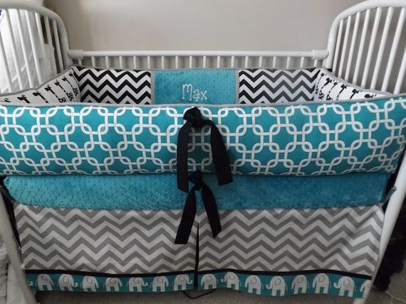 Elephant Teal Gray Black Baby Bedding Crib Set Deposit Down