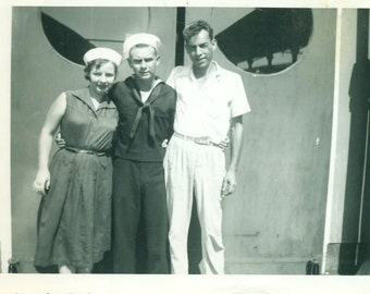 1954 Navy Sailor and Wife in Matching White Hats Uniform Men Woman 1950s Vintage Black And White Photo Photograph