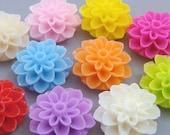 20pcs Dahlia Flowers...Resin...Cabochon...15mm...10 Colors...F1