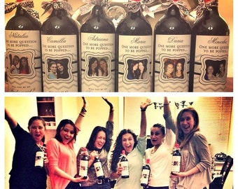 Wine Labels - Bridal Party Gifts - Custom Bridesmaid Photo Wine Labels - 8 Labels