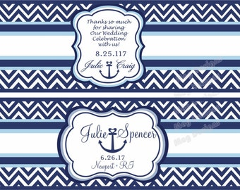 Water proof labels - Chevron - Nautical Water Bottle Labels - Anchor - Customizable - Weatherproof Polyester Laser Printed - 50 Labels