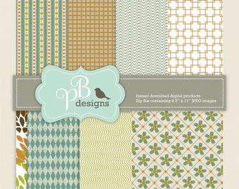 "Digital paper by PB designs - Qty 8 - 8.5"" x 11"" JPEG files - digital papers - instant download - country charm floral & gingham"