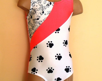 Gymnastic Dance Leotard with Dalmatian Paw Print Insert. Dancewear. Toddlers Girls Leotard. SIZES 2T - Girls 10