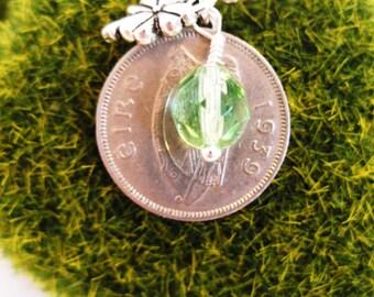 RARE 1939 IRISH Wolf hound  Coin Charm Necklace-1939 Silver Irish 6 Pence Ireland Necklace