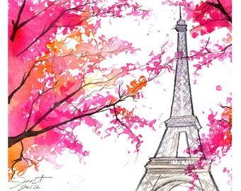 Paris for Grandma, print from original watercolor painting by Jessica Durrant