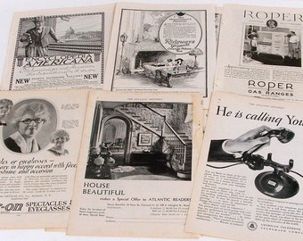 Vintage, Antique Paper Ephemera for Collage or Scrapbooking, Grab Bag of Mixed Ads, 1920s, 1930s