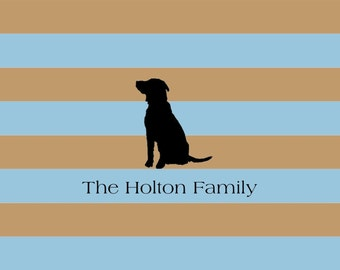 Rugby Stripe With Dog Silhouette Note Cards- set of 10
