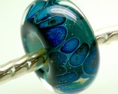 Euro style large hole boro lampwork bead in lapis sparkle glass handmade big hole bead by paulbead euro fit charm beads silver core bead