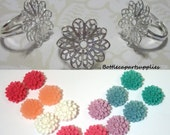 NEW ITEM 10 Pcs Filigree Silver Flower Finger  Adjustable Rings and Resin Flower Cabs. You Choose Colors. Makes 10 Rings