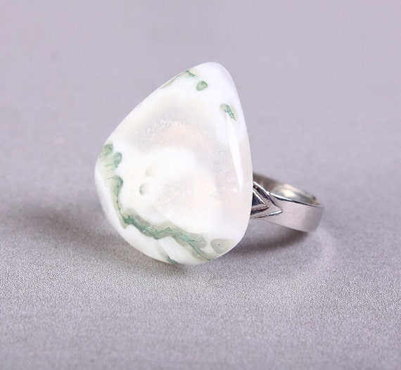 Unique natural moss agate adjustable silver ring OOAK (767G) - Flat rate shipping
