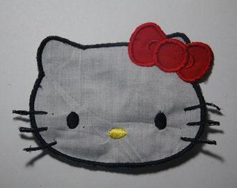 Kitty Iron On Applique Patch, Hello Kitty, Iron On Patch, Hello Kitty Face Iron On Patch
