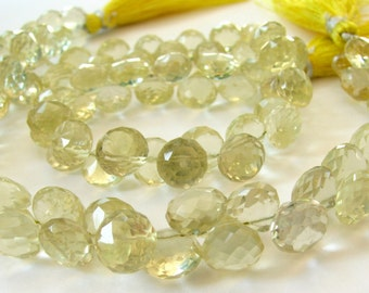 AA Lemon Quartz Briolettes, 7mm Faceted Onion Candy Kiss Beads, 8 inch strand (8k49b)