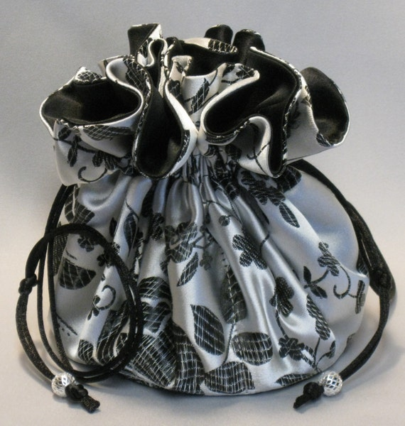 Jewelry Drawstring Travel Tote---8 Pocket Organizer Pouch---Silver and Black Floral Satin Brocade---Large Size