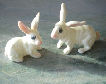 Easter Bunnies, Pair of White Rabbits, 2 Little Porcelain Figurines, Spring Animals, Baby / Child Home Decor, Shelf Display, Free Shipping