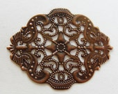 10 Antique copper Filigree jewelry findings stamped medallion victorian style openwork lace 44mm x 34mm 134R
