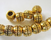 24 Large hole beads antique gold  metal spacer jewelry supply 9mm x 7mm x 4mm F11511Y X5