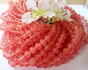 15 inch strand Cherry quartz  beads pink round  gemstone jewelry making supply F1076Y (