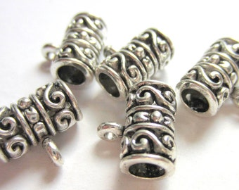 18  Antique silver Charm hangers  jewelry making suppplies bead large hole pendant hanger F10587Y