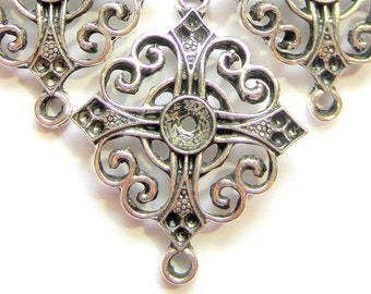 8 Jewelry connectors antique silver connector links filigree jewelry findings 33mm x27mm Z1233