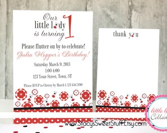Ladybug Birthday Invitation, DIY, PRINTABLE