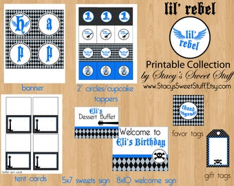 Lil' Rebel Birthday Party Package, DIY, PRINTABLE, CHOOSE 4