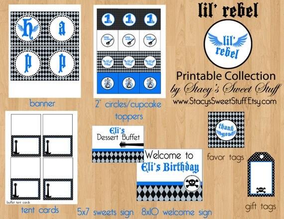 Lil' Rebel Birthday Party Package, DIY, PRINTABLE, CHOOSE 4