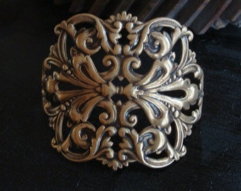 Brass Ox, Bracelet Cuff, Jewelry Supply, Large Ornate Stamping, Rings Added to Just Add a Chain For A Completed design, USA Metals, Handmade