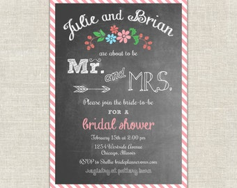 Chalkboard Bridal Shower Invitation Mr. & Mrs. coral pink stripes arrow mustache green aqua trendy typeset country casual
