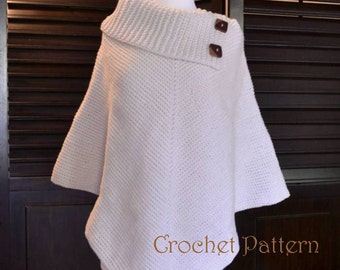 Crochet Poncho Pattern, Cowl Neck Poncho, Womens Poncho, CROCHET PATTERN, Automatic Download