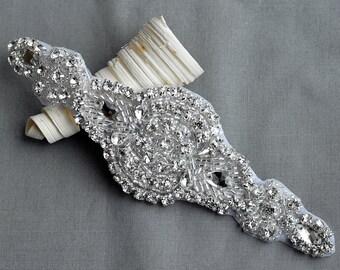 Rhinestone Applique Bridal Accessories Crystal Trim Rhinestone Beaded Applique Wedding Dress Sash Belt Headband Jewelry RA026