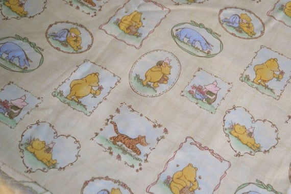 Vintage Fabric Winnie The Pooh Classic Print By The Yard