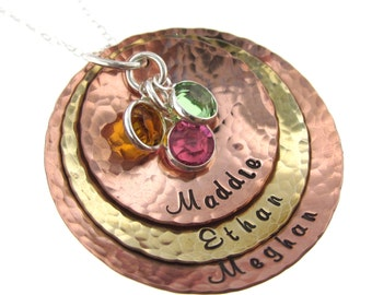 Three Textured Multi Metal Charms with Birthstones - Personalized Jewelry