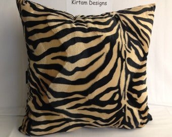 Set of 4 big pillows cushions 22 inches square faux fake fur velboa zebra animal print brown beige black