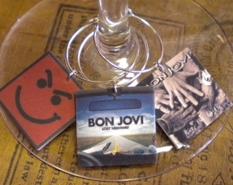 Bon Jovi Album Cover Wine Charms for Music/Wine Lover 'YOUR wine glasses deserve Cool SASSY Jewelry' Fast Ship & Great Gift for your BFF