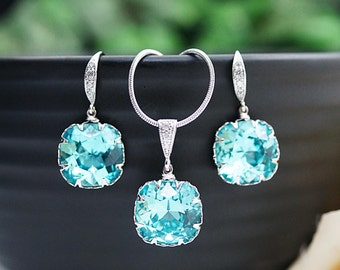 Weddings Bridesmaid gifts Bridesmaid Earrings Light Turquoise Swarovski Crystal Square drops Jewelry Sets dangle earrings