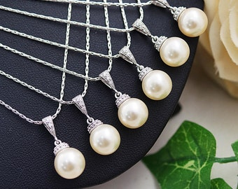Wedding Jewelry Bridesmaid gift Bridal Jewelry Bridal Necklace Bridesmaid Necklace Swarovski pearl drops Necklace Pearl Jewelry