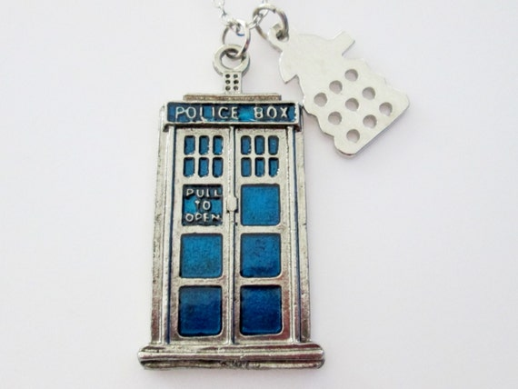 Tardis Necklace, Doctor Who Fan Art Jewelry, Tardis and Dalek, Whovian Necklace, Large Tardis with Long Necklace Chain A007