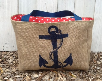 Eco-Friendly Nautical Anchor Market Tote Bag, Handmade from a Recycled Coffee Sack