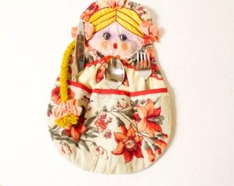 Vintage Russian Matryoshka Doll untensil holder, vanity brush holder