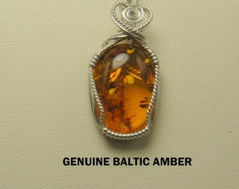 Superb Genuine Baltic Amber Designer Cabochon Wire Wrapped Pendant.