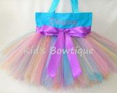 Personalized Aqua Rainbow Fairy Monogrammed Tutu Tote Bag