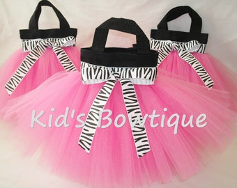 12 Zebra Diva Party Tutu Bags - Diva Birthday Treat Bags - Toddler Tutu Purses