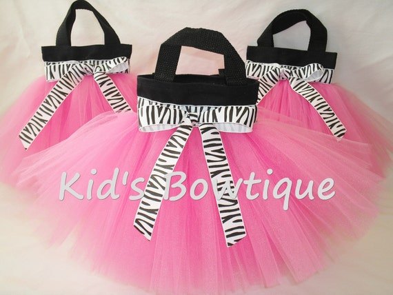 Set of 15 Zebra Wild Party Favor Tutu Bags - Diva Birthday Treat Bags