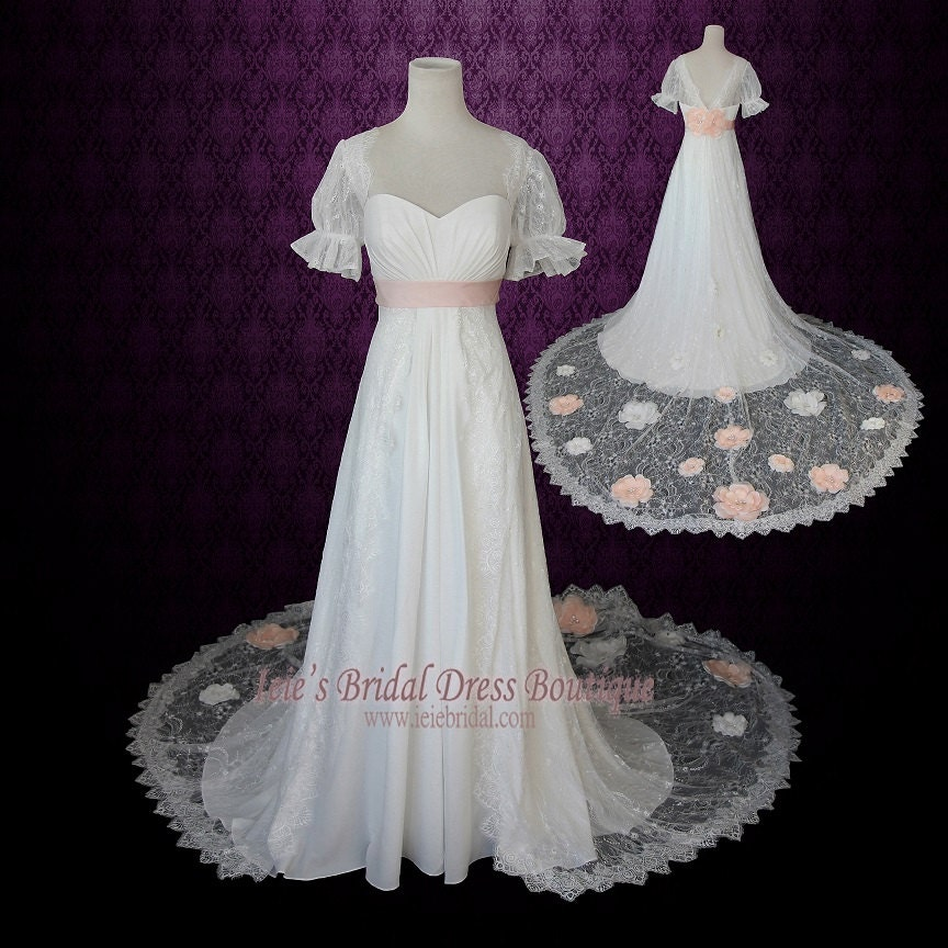 1920s regency style empire lace wedding dress with sleeves and for Regency style wedding dress